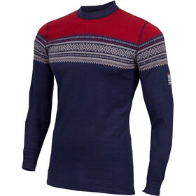 Aclima DesignWool Marius Crew Neck Shirt Herr Patriot Blue/Nature/Tango Red